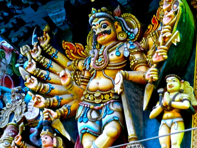 A sculpture from a gopuram (tower gate) of the Meenakshi temple
