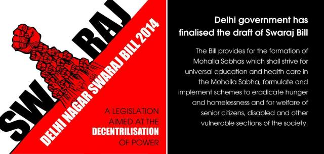 An AAP poster explaining the Delhi Swaraj Bill
